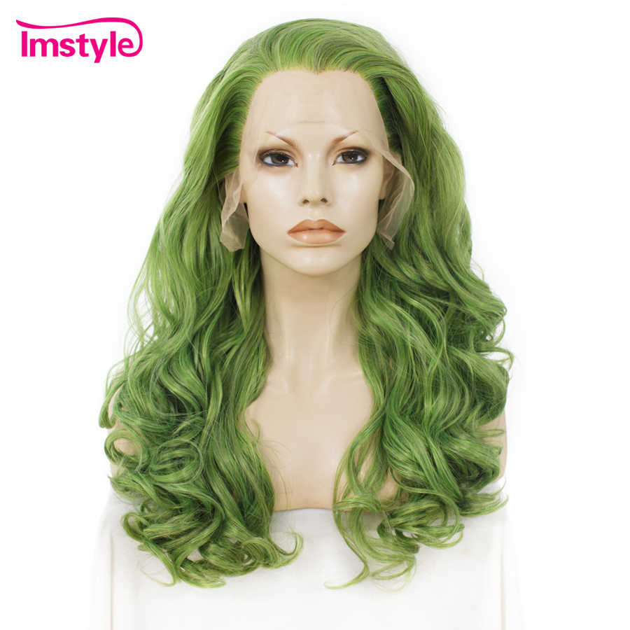 Imstyle Green Wig Synthetic Lace Front Wig Wavy Long Wigs For Women 24 Inch Natural Hair Heat Resistant Fiber Cosplay Wig