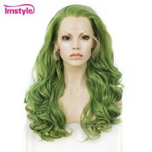 Imstyle สีเขียววิกผมสังเคราะห์ลูกไม้ด้านหน้าด้านหน้าวิกผมหยักยาว Wigs สำหรับผู้หญิง 24 นิ้ว Hairline ธรรมชาติทนความร้อนเส้นใยคอสเพลย์วิกผม
