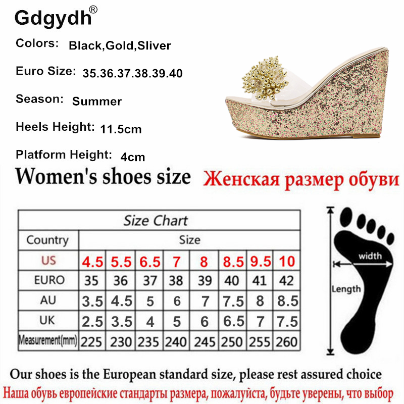 Image 5 - Gdgydh Rhinestone Wedges Sandals Women 2019 Summer Sexy Trifle Slides Casual Beading Open Toe Female Sandals Platform Shoes-in High Heels from Shoes