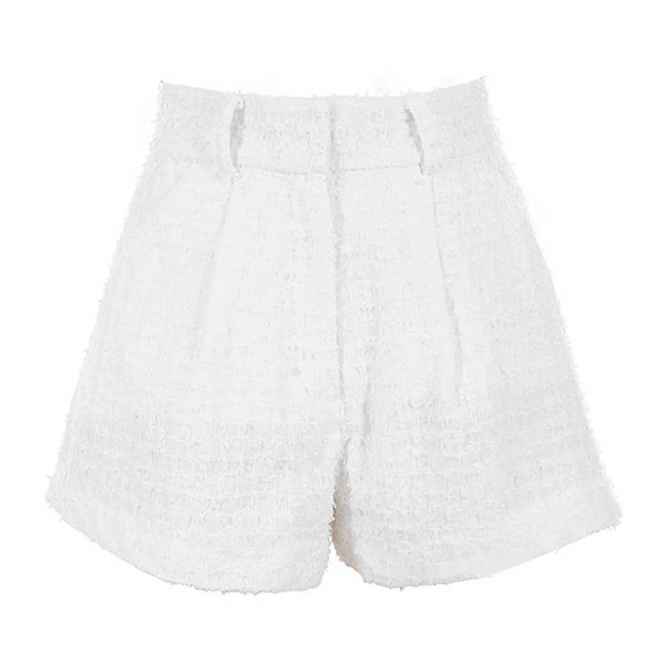 Шикарный белый комплект из двух предметов, Женская Втулка с открытыми плечами, короткий укороченный топ и шорты с высокой талией, спортивный костюм, комплект повседневных брюк
