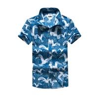Seabirds Printing Male Shirt Short Sleeve Polyester Quick Dry Hawaii Casual Shirts Hawaiian Big Sizes 5XL