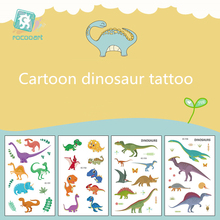 ROCOOART Latest 2019 Cartoon Animal fake Tattoo Dinosaur Designs Pattern  Childrens Temporary Stickers For Kid.