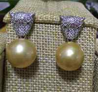 Free shipping hugea pair of round 12 13mm south sea gold dangle pearl earring 925s