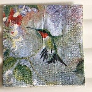 Image 2 - 25 センチメートル 20 紙ナプキンティッシュかわいいハチドリ花ハンカチオイルクラフトデコパージュ少女少年子供パーティー結婚式ナプキンデコ