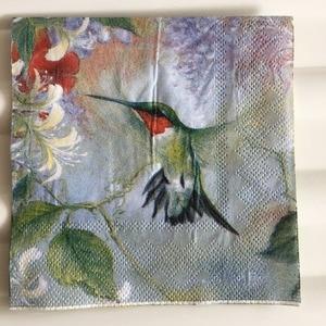 Image 2 - 25 cm 20 giấy tissue khăn ăn dễ thương Hummingbird hoa khăn tay dầu thủ công decoupage cô gái boy kid đảng đám cưới khăn ăn deco