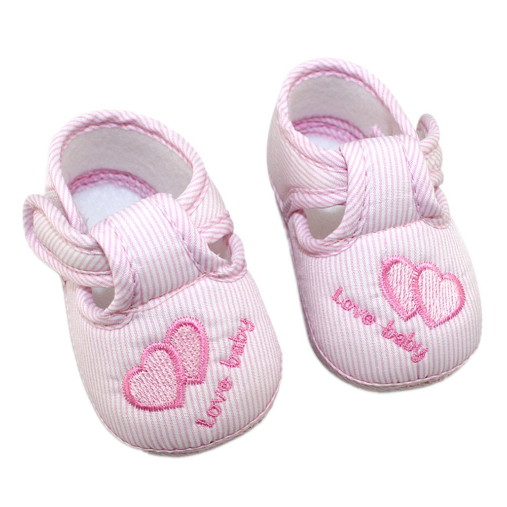 Cute Heart Print Baby Shoes Infant Girl Boy Anti-slip Soft Cotton Soled Sneaker 0-12M