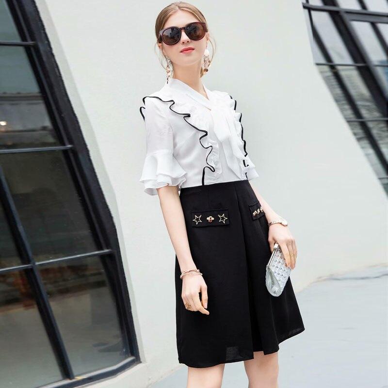 Robe Manches 2019 Blanc Arc Femmes Style D'été Bloc De Piste Col Noir Designers Simple Mode Flare Élégant Couleur qxn1vtR