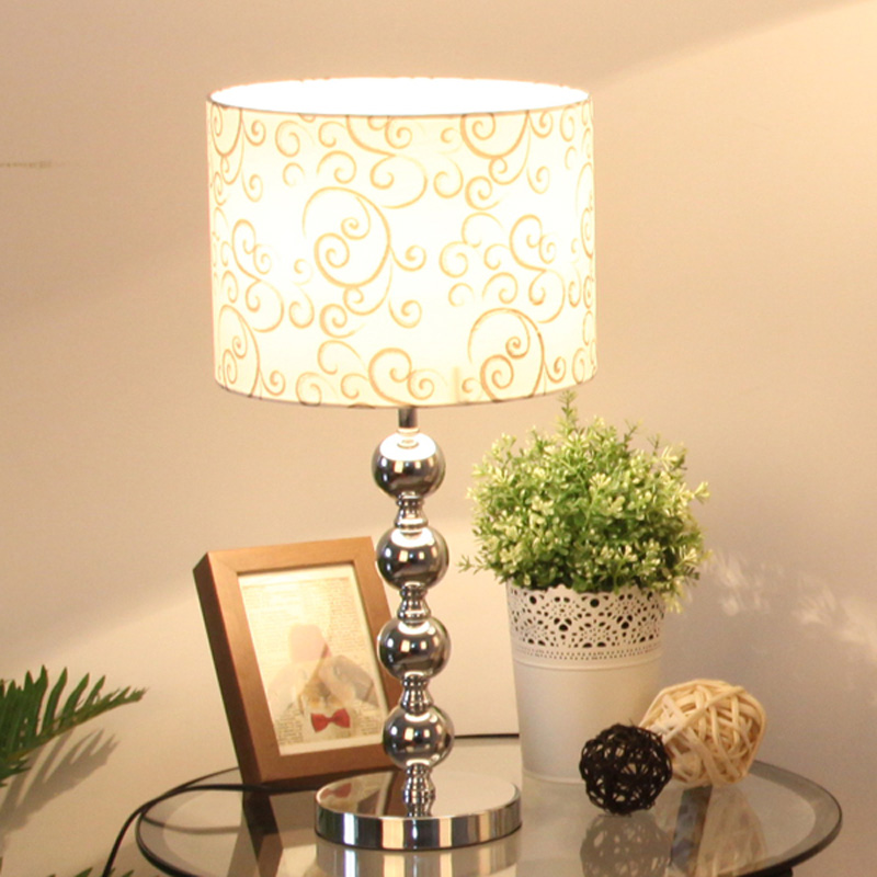 "Living Room Lamp Shades: Modern 11"" Chrome Bedroom Bedside Table Lamps Cylinder"