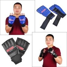 SUTEN Boxing Gloves Half Finger Mitts Gloves Breathable Leather Gloves Sandbags Punching Gloves цена
