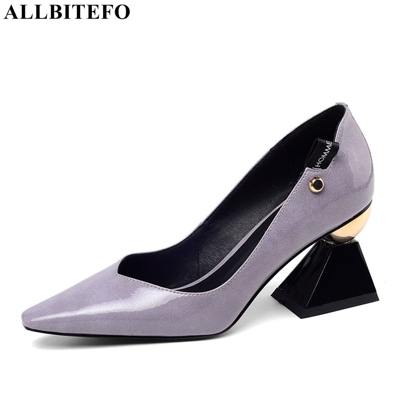 Allbitefo 고품질 브랜드 하이힐 파티 여성 신발 봄 여성 하이힐 신발 사무실 숙녀 신발 여성 발 뒤꿈치-에서여성용 펌프부터 신발 의  그룹 1