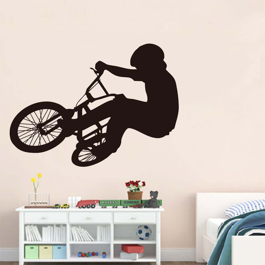 Bike Player Silhouette Wall Stickers Cool Modelling Cycling Wall Art Pvc Wallpaper For Children Bedroom Home Decor