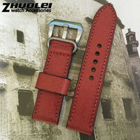 High Quality 22mm 24mm Real Italian Genuine Leather Watchband With Stainless Steel Buckle Red Retro Strap