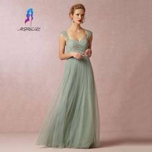 Gorgeous Mint Green Lace Bridesmaid Dresses Long Tulle Back Zipper Women Maxi Dress For Weddings Customized