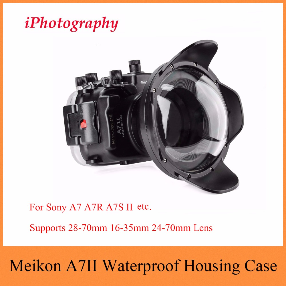 Meikon A7II A7R II 40M 130ft Waterproof Case For Sony A7 A7R A7S II with Dome Port Lens,Underwater Housing Case For Sony A7 A7R godox tt600s flash speedlite for sony multi interface mi shoe cameras a7 a7s a7r a7 ii a6300 etc