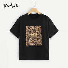 ROMWE Cheetah Print Tee 2019 Fashion Women Black Leopard Round Neck Clothes T Shirt Graphic Summer Short Sleeve T Shirt(China)