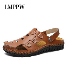 Summer Outdoor Beach Men's Leather Sandals Men's Sandals Non-slip Slippers Hollow Genuine Leather Breathable Men Casual Shoes