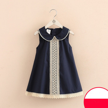 2021 Hot Summer 3-8 10 to 12 Years Casual Kids Lace Embroidery Peter Pan Collar Sleeveless Tank Sundress Baby Girls Dress Cotton