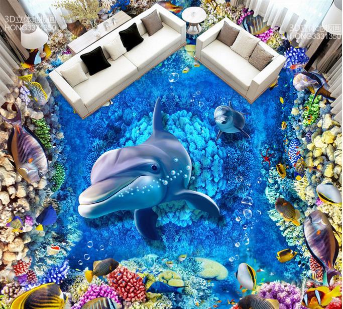 3d floor murals Sea World Dolphin 3d stereoscopic wallpaper 3d floor wallpaper self adhesive tile flooring bathroom