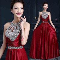 Evening Dress 2017 New Hot Floor Length A Line Halter Satin Sexy Formal Prom Party Gowns