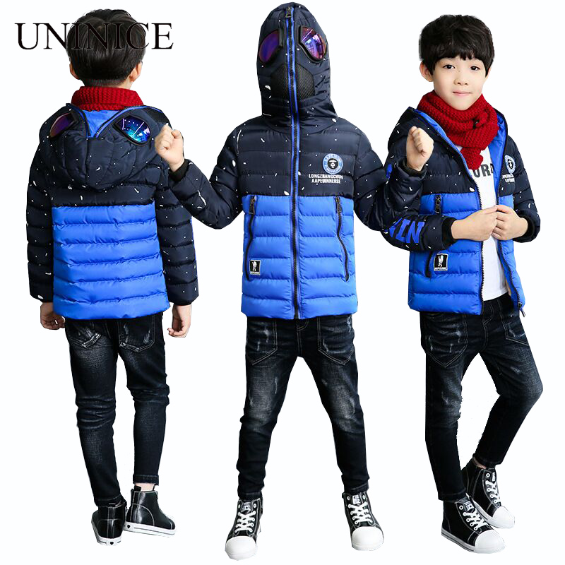 UNINICE Kids Boys Jacket Winter Coat With Glasses Warm Cotton Jacket For Boys Outerwear Coat Christmas Teenage Clothes 4-14Y