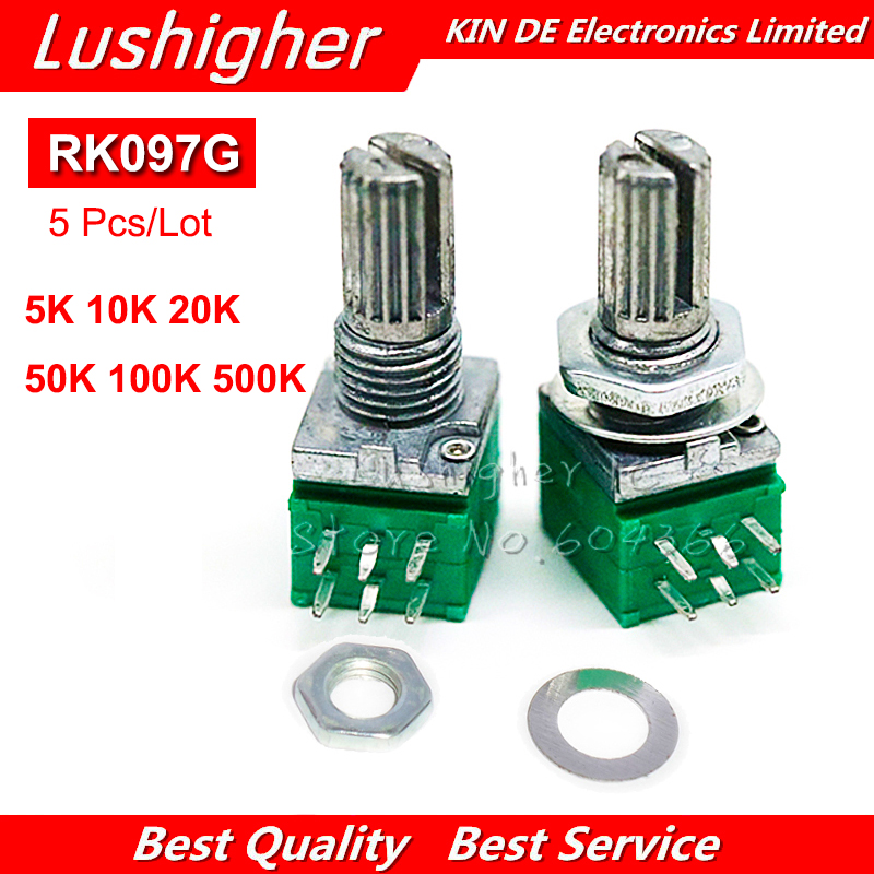 5 шт., 6pin вал RK097G 15 мм 5 к 10 к 20 к 50 к 100 к 500 к B5K с переключателем, усилитель звука, уплотнительный потенциометр
