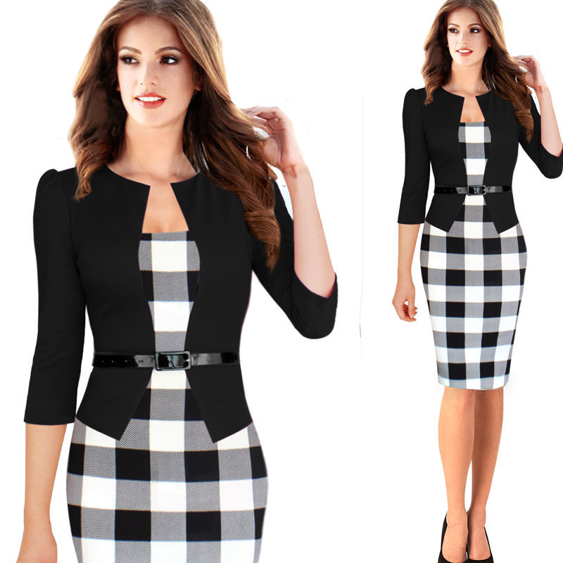 New 2015 Women Dress Summer Elegant Belted font b Tartan b font Lace Patchwork Tunic Wear