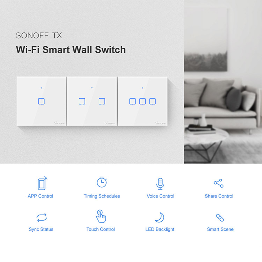 SONOFF Smart WiFi Wall Light Switch APP/Touch Control Timer EU Panel Home Automation Compatible With Google Home/Nest & Alexa