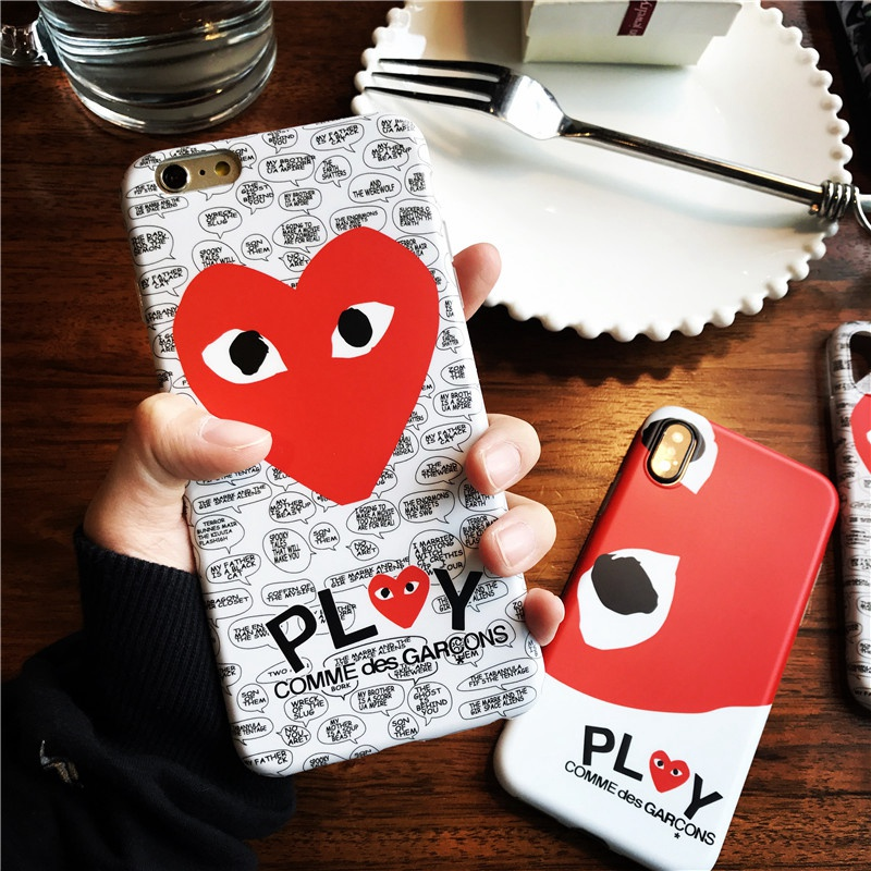 Fashion popular Japan CDG Play Comme des Garcons design Heart Matte Soft IMD phone Cases for iPhone 7 6 6s 8 Plus X 10 Cover