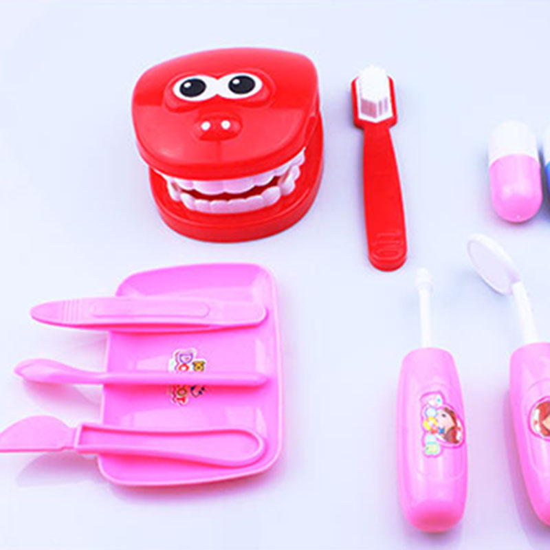 1Set Early Education Toy Children Play House Doctor Small Dentist Simulation Brushing Denture Game Baby Medical Toy Tote Bag