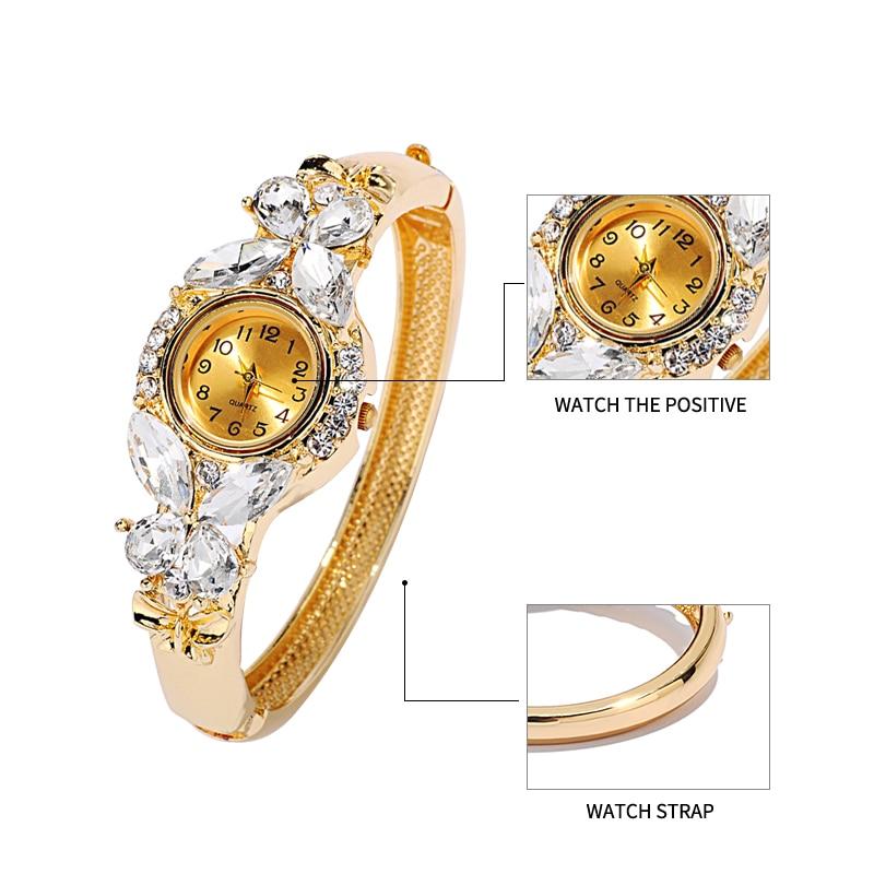 JUNYU mode guld klockor armband klocka kvinnor fjäril gemstone - Damklockor - Foto 4