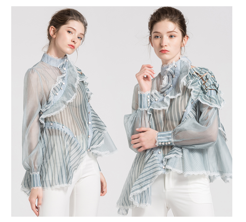 Urumbassa Women ruffles blouses Fashion stripe off shoulder Shirts Tops  Brand new hollow out Shirts & Blouses S270