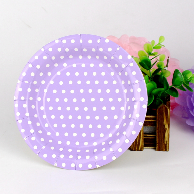 Dots Purple Disposable Paper Plates Valentine Birthday