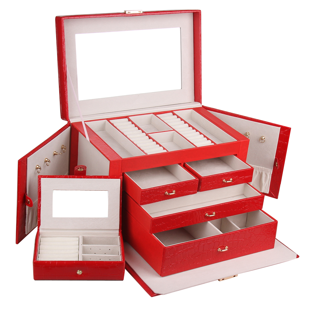 Extra Large RED Jewellery Boxes Luxury Gift Faux Leather Key Storage Case Earrings Rings Necklace Mirror Display Travel Case 144