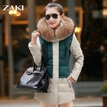 2016 новый высокое качество осень и зима женщины Куртка куртка хлопок куртка большой енота меховым воротником толстые длинные пальто Размер S-XXXL
