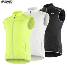цена на ARSUXEO Men's Cycling Vest Windproof Running Vest MTB Bike Bicycle Reflective Clothing Sleeveless Jersey Cycling Jacket