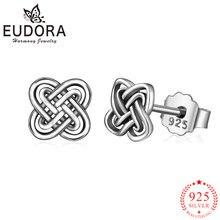 Женские серьги гвоздики с узлом eudora подлинные сережки из