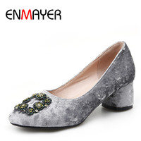 ENMAYER Sexy Rhinestone Pumps Women Round Toe High Heels Shoes Woman Crystals Wedding Shoes Red Gray
