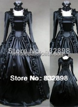 Pure Black Gothic Victorian Dress Long Victorian Clothing