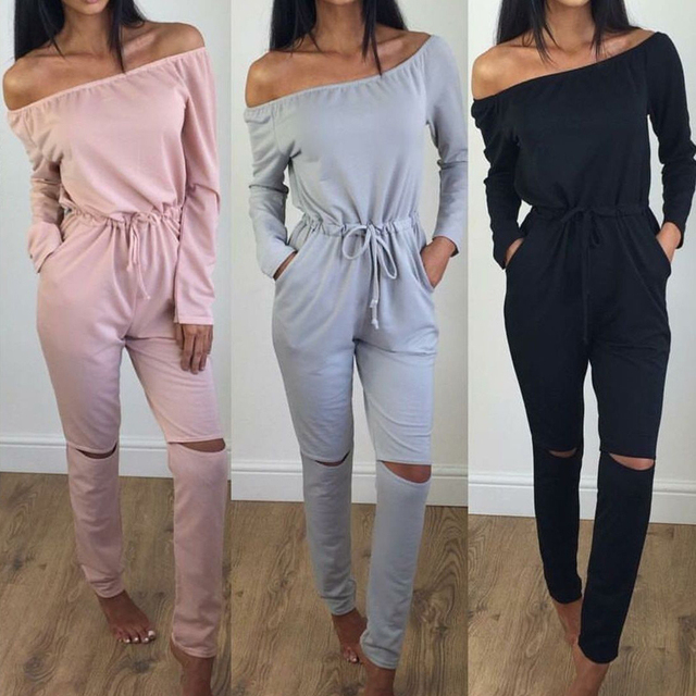 Sexy Womens Long sleeves Off Shoulder Bodycon Jumpsuit Romper Trousers Clubwear