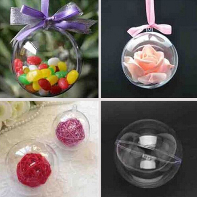 Santa Xmas Tree Plastic ballon Hanging Transparent Plastic Ball Can Open for Christmas Decoration Brithday Party wedding decor