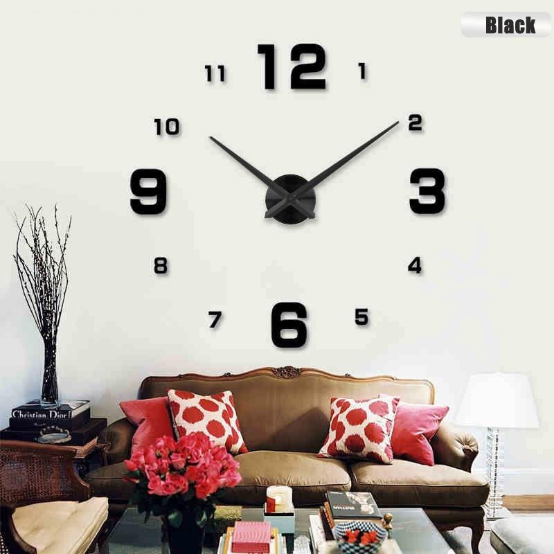 fashion 3d big size wall clock mirror sticker diy wall clocks home decoration brief living room. Black Bedroom Furniture Sets. Home Design Ideas