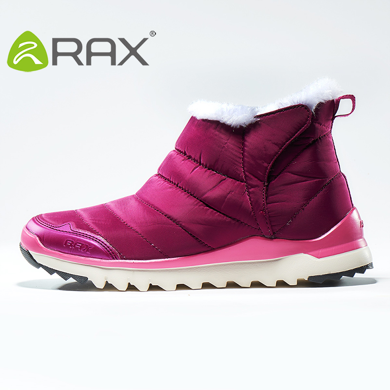 Rax Women Sneakers Autumn And Winter Plus Velvet Warm Snow Boots Slip Female Outdoor Hiking Shoes B2611 yin qi shi man winter outdoor shoes hiking camping trip high top hiking boots cow leather durable female plush warm outdoor boot