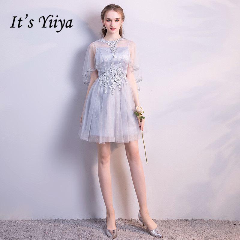 It's YiiYa Illusion Cap S Short Sleeve Appliques Lace   Cocktail     Dress   Knee Length Formal   Dress   Party Gown LX163