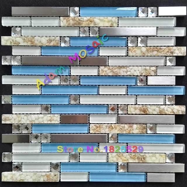 Blau Glass Sea Shell Fliesen Küche Backsplash Muschel Fliesen Mutter Von  Preal Edelstahl Mosaik U