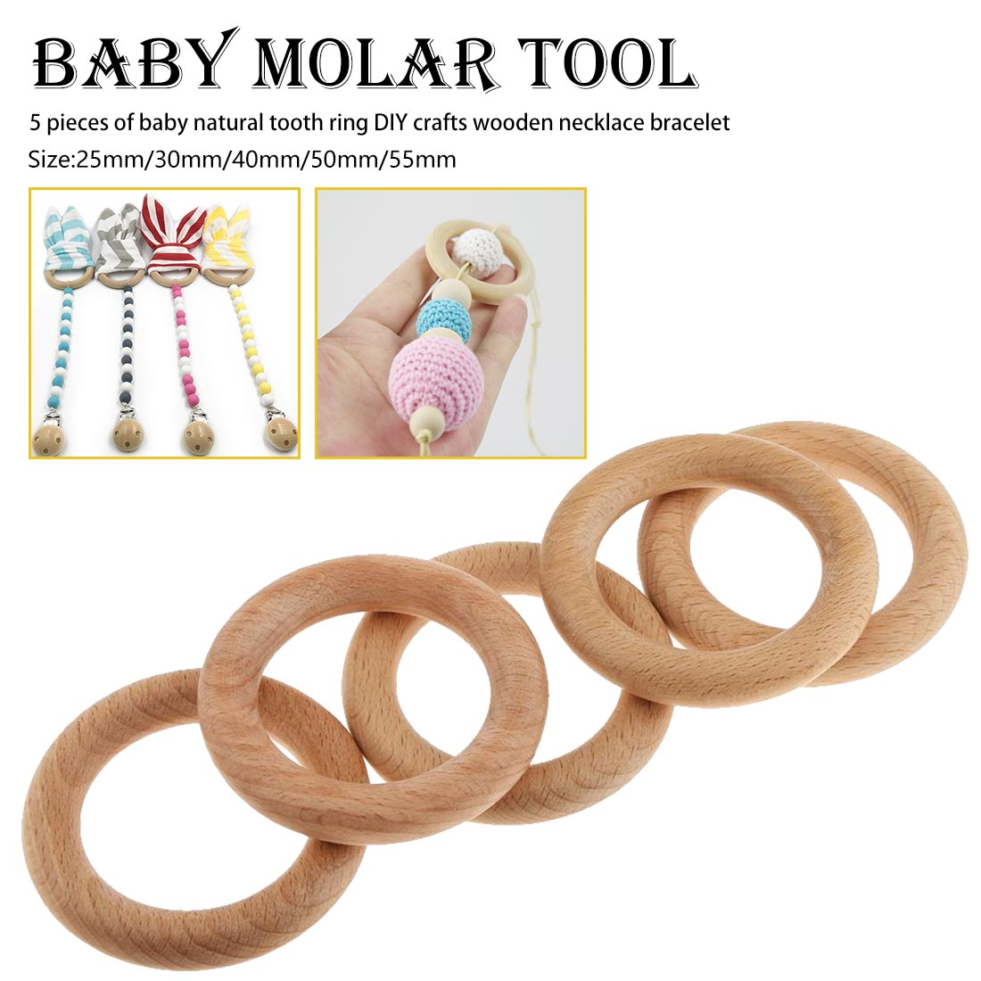 Baby Teething Ring Teether Safety Wooden Natural Star Sensory Toy Gift in Baby Teethers from Mother Kids