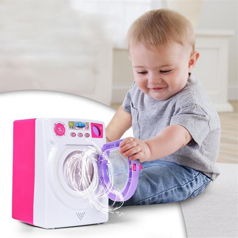 Mini Multifunction Kids Washing Machine Toy Beauty Makeup Brush Sponge Washer Cleaning Machine Toys Housework Pretend Play Toys
