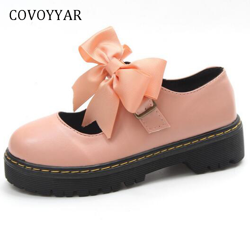 COVOYYAR 2019 Spring Autumn Women <font><b>Shoes</b></font> Flat Platform Creepers Sweet Bow <font><b>Lolita</b></font> <font><b>Shoes</b></font> Round Toe Cut Out Oxfords WFS394 image