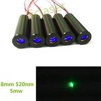 Classe IIIA Bassa temperatura di funzionamento 8mm 5 mW 520nm Verde Mirino Laser Diode Module Dot Grado Industriale di Pilotaggio APC