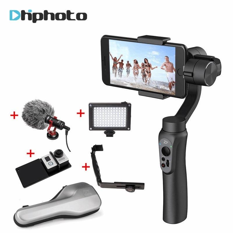 Zhiyun Lisse Q Lisse 4 Ordinateur De Poche 3-Axis Cardan Stabilisateur pour Gopro Action Caméra pour iPhone X 7 Plus Samsung PK Osmo Mobile 2