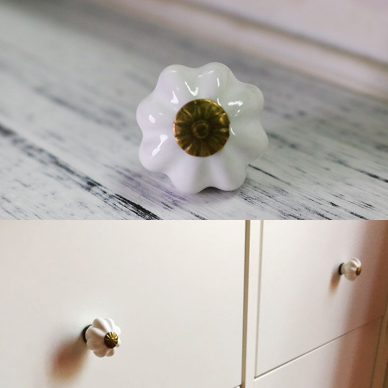 Small Cute Children Room Pumpkin shape Door Cabinets Knob Handles Ceramic Furniture Dresser pulls Cupboard Drawer Knob dia 25mm cute birds ceramic knobs dresser knob drawer pulls handles cupboard pulls knob pink green kids cabinet knob furniture home decor